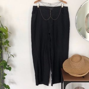 Ashley Stewart Black Linen Pants Size 18